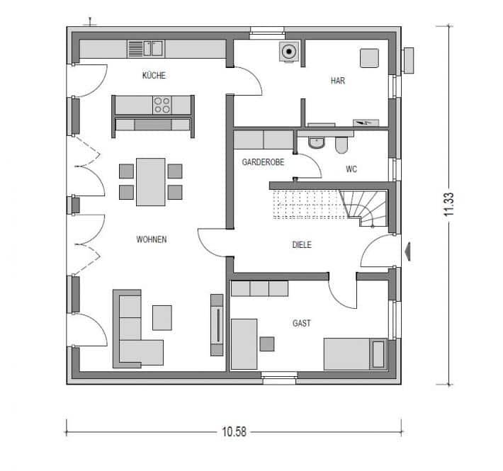 Heinz von Heiden - Einfamilienhaus - Alto F10 - Grundriss - Erdgeschoss